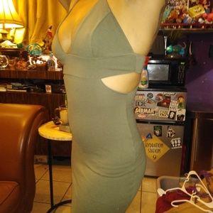 Solemio Army Green Cut out Bodycon Dress